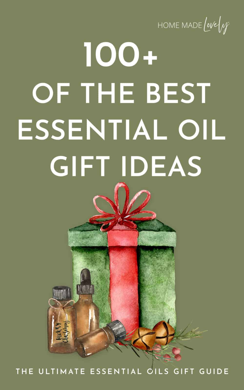 essential oils gifts text on green background