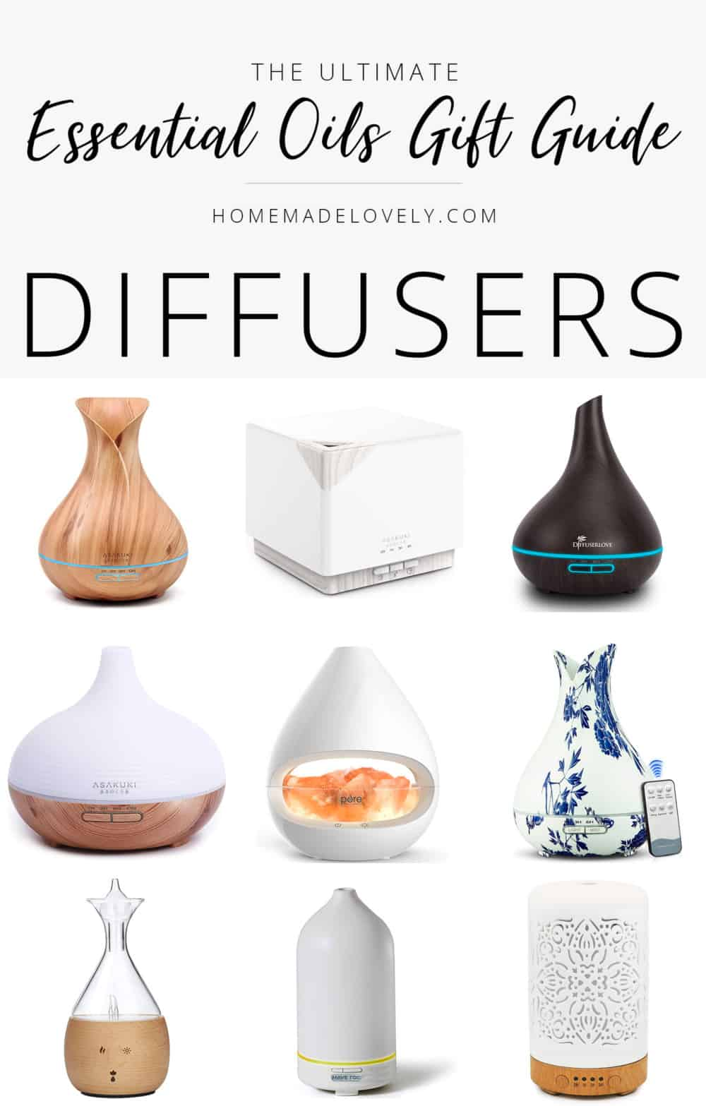 essential oils themed gift guide diffusers