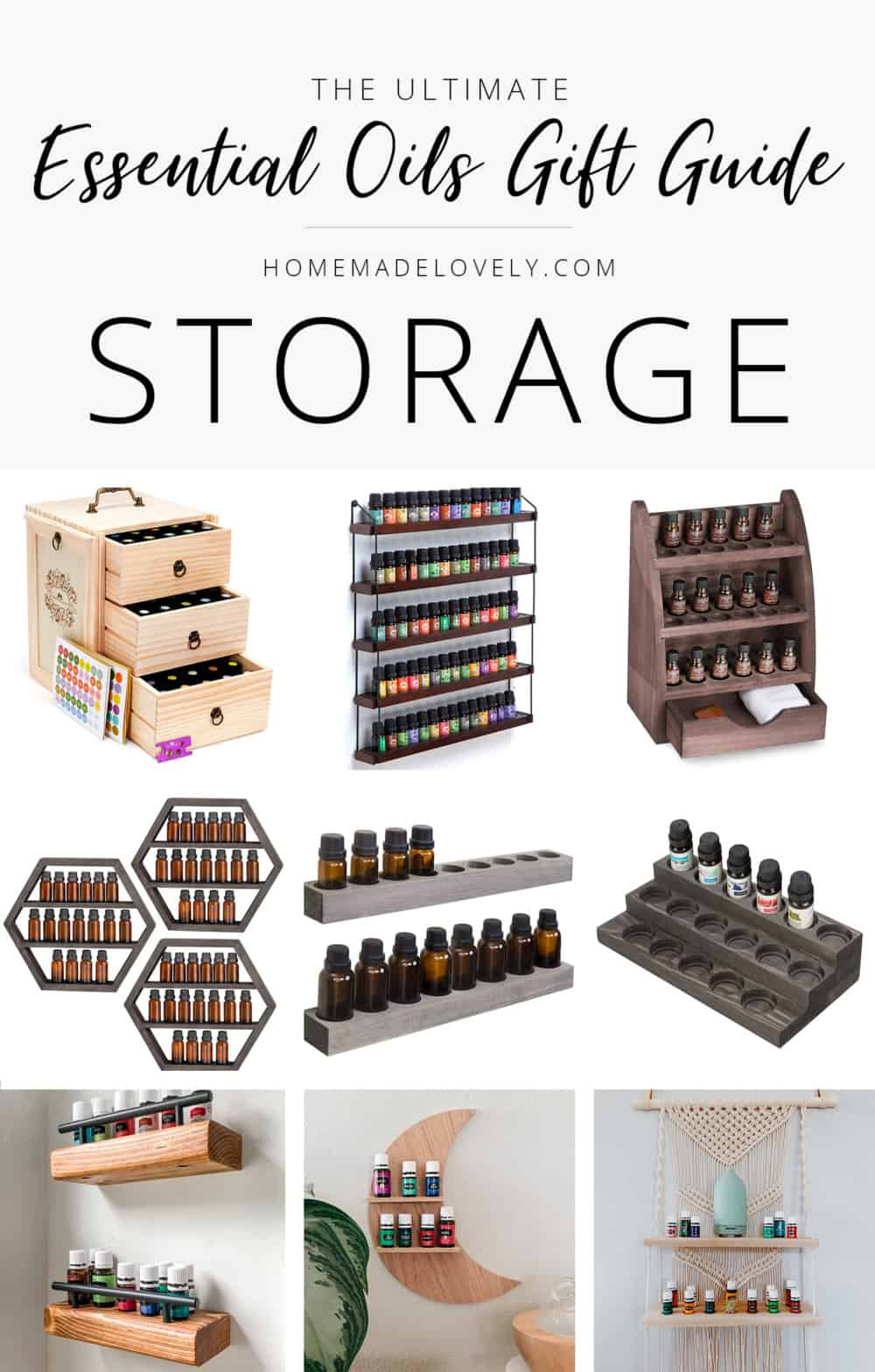 essential oils themed gift guide storage