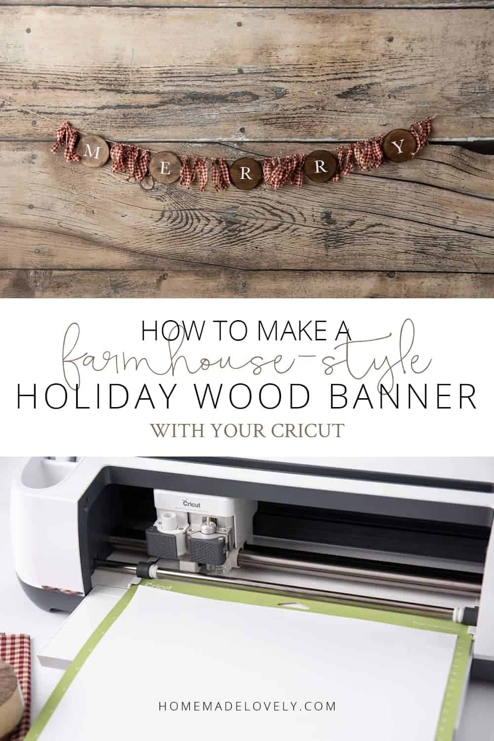 Farmhouse-style holiday wood banner Cricut craft