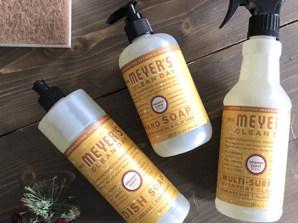Mrs Meyers hand soap dish soap and everyday cleaner trio