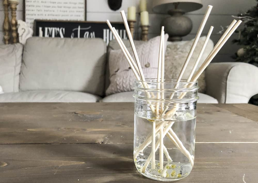 reed diffuser on coffee table