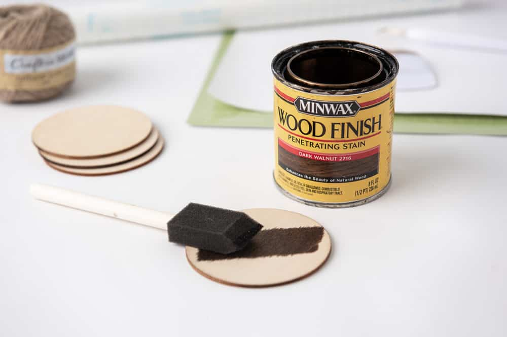 stain the wood rounds