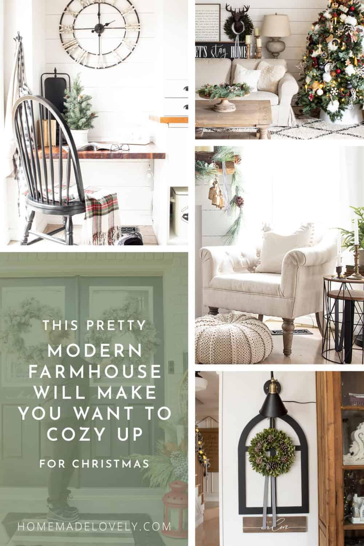 Modern Farmhouse Christmas Tour collage with text overlay