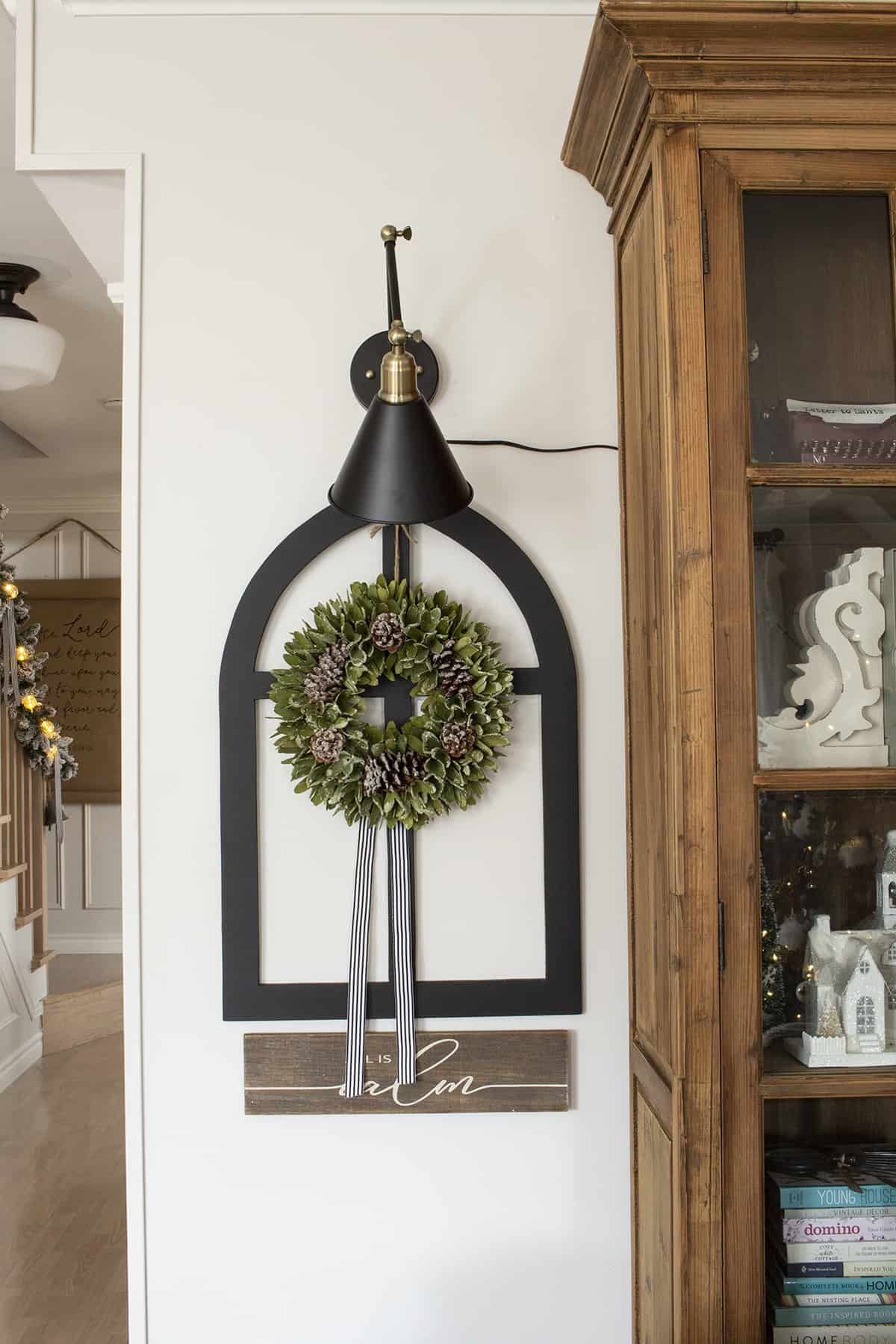 gallery light faux arch window wreath