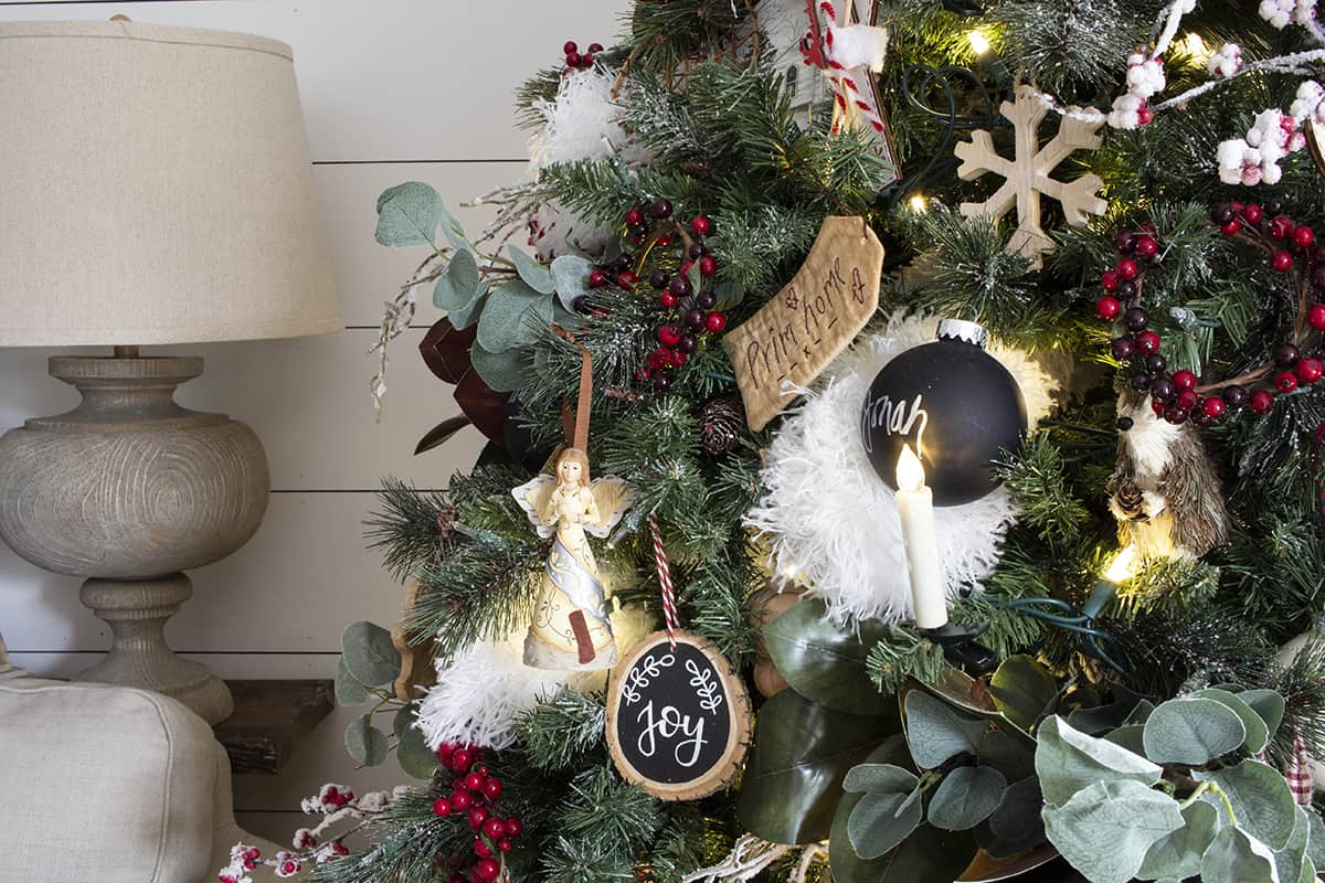 modern farmhouse decorated Christmas tree detail