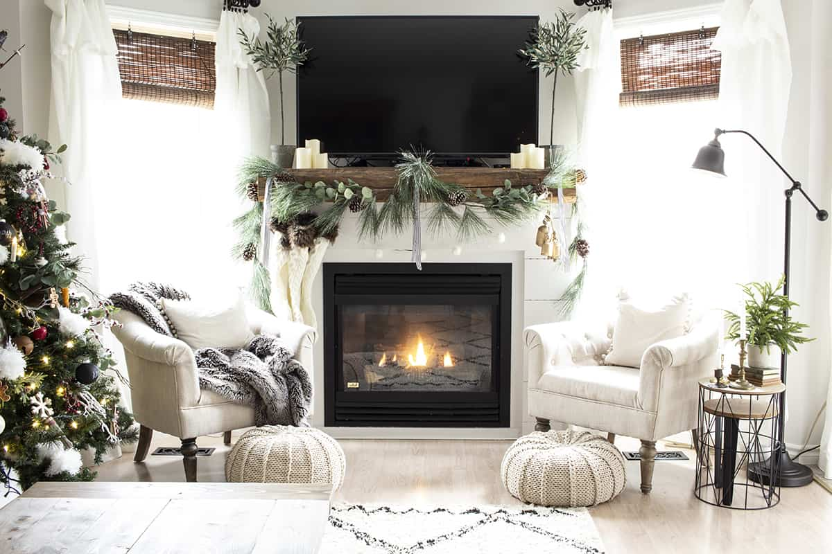 white shiplap fireplace mantel for christmas