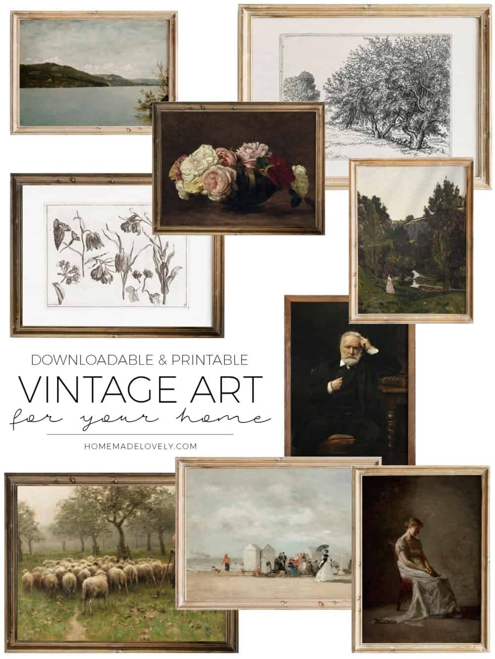 various vintage style art prints in frames with text overlay