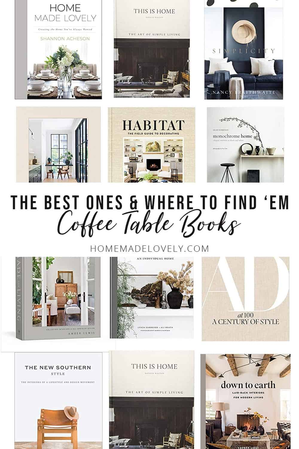 Coffee table books in a grid with text overlay