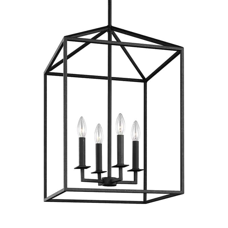 four light entry pendant black