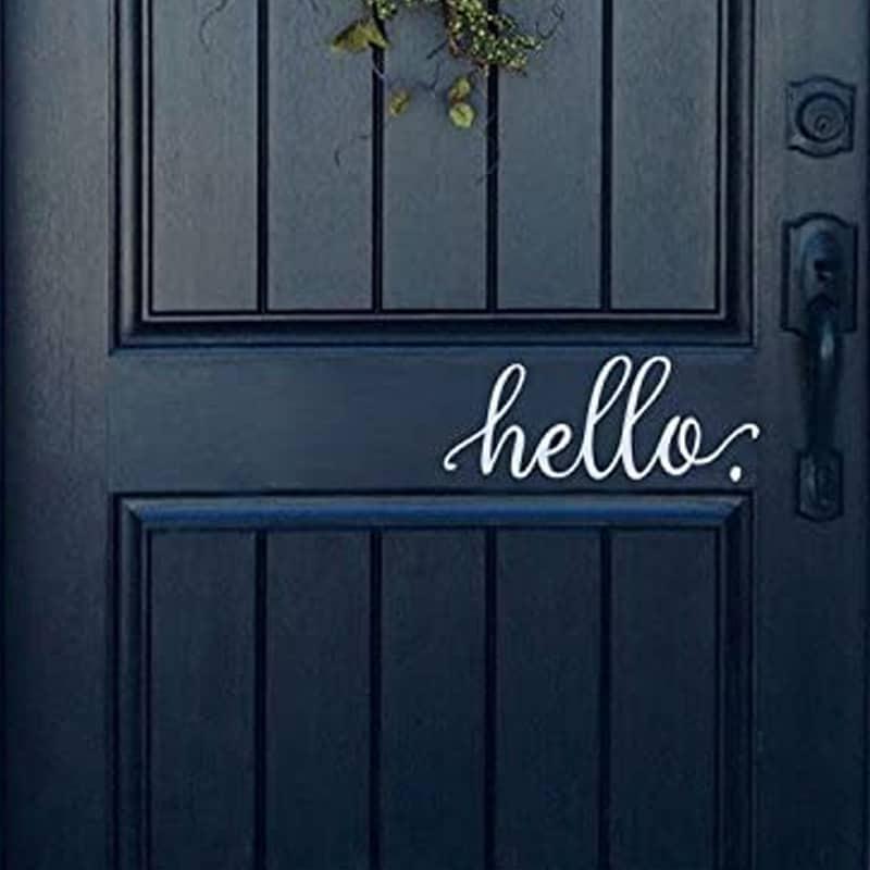 white vinyl hello decal for door