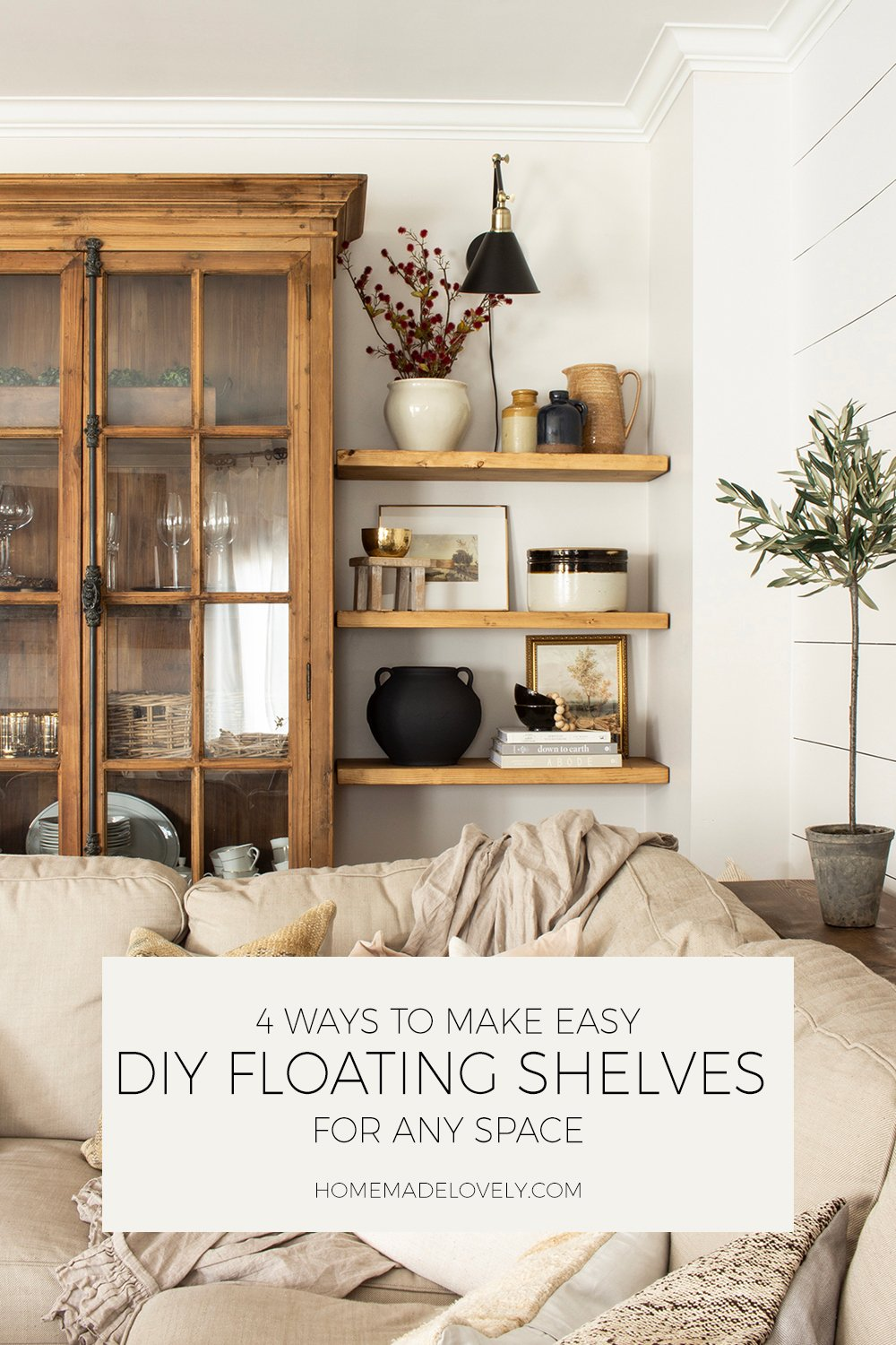 4 ways to make easy diy floating shelves for any space pin 1