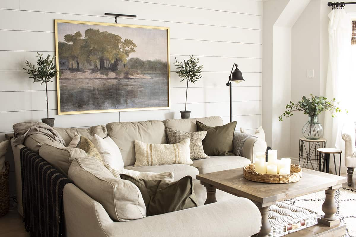 Beige Sectional with Earth Toned Throw PIllows