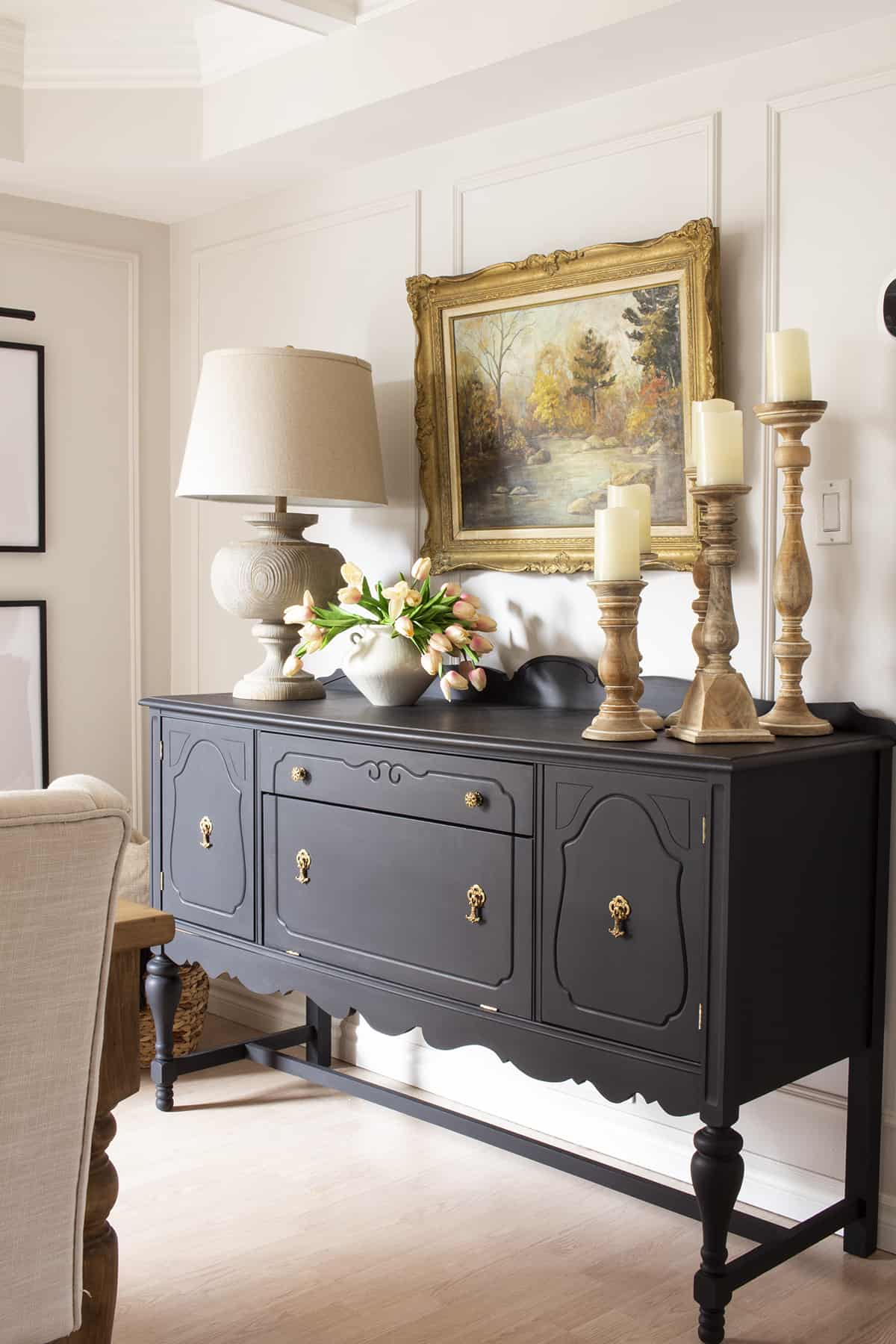 Black Vintage Buffet with Gold Accents