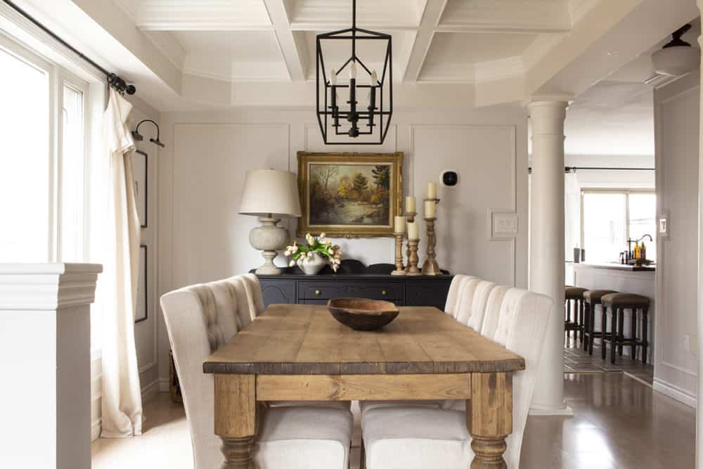 Earthy Neutral Dining Room Vintage Painting
