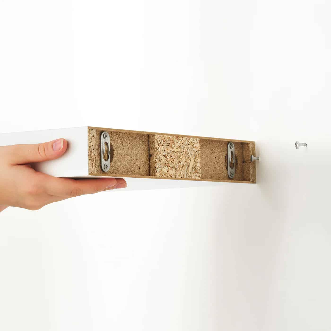 ikea white floating shelf back showing attached brackets
