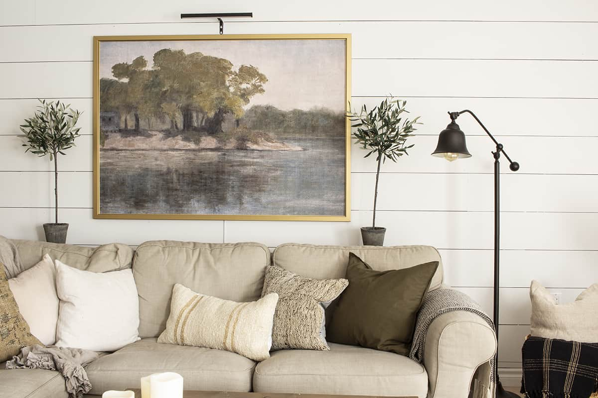 Lakeside Print from Juniper Prints in Gold Ikea Frame with Gallery Light