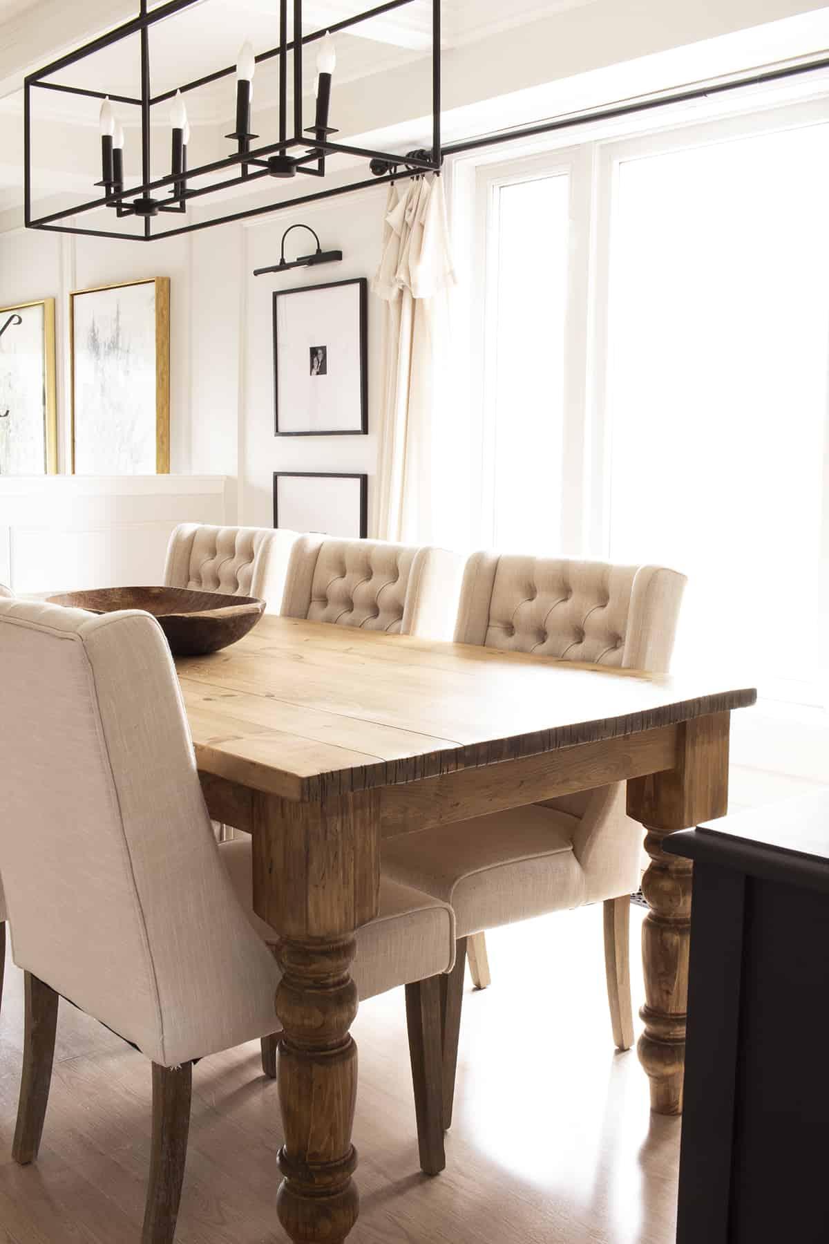 Rustic Farmhouse Table in Modern Farmhouse Dining Room