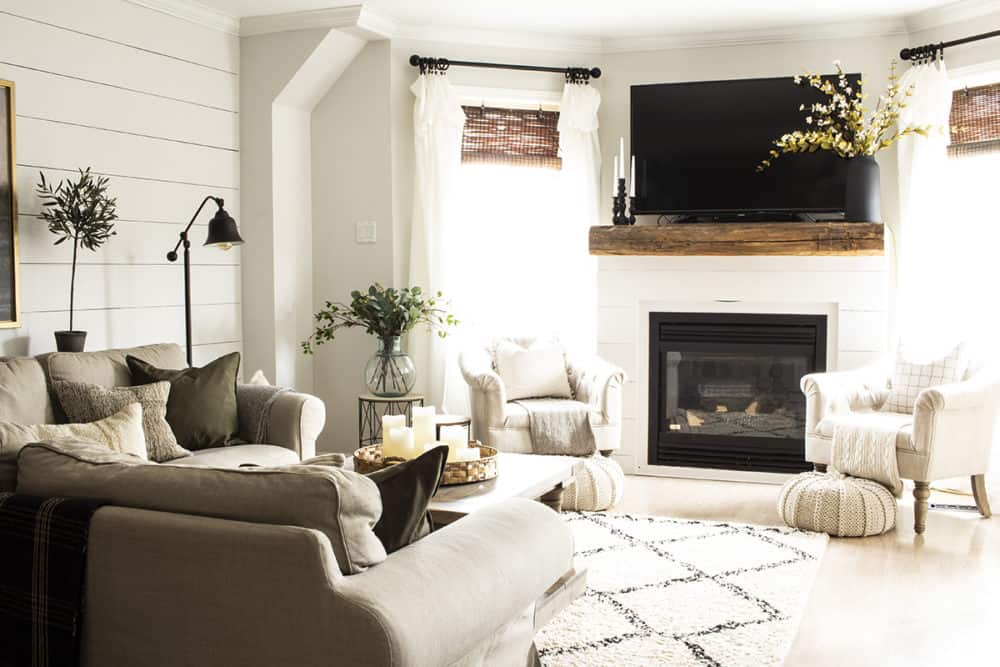 Shiplap and Barn Beam Fireplace with TV Above