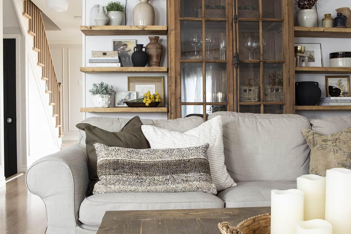 Throw Pillows Deep Olive Green and Vintage Kilim Rug