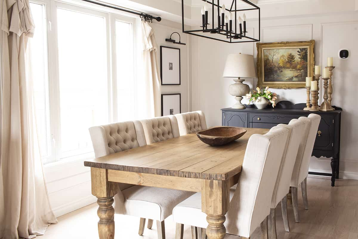 Warm Neutral Dining Room Wood Table