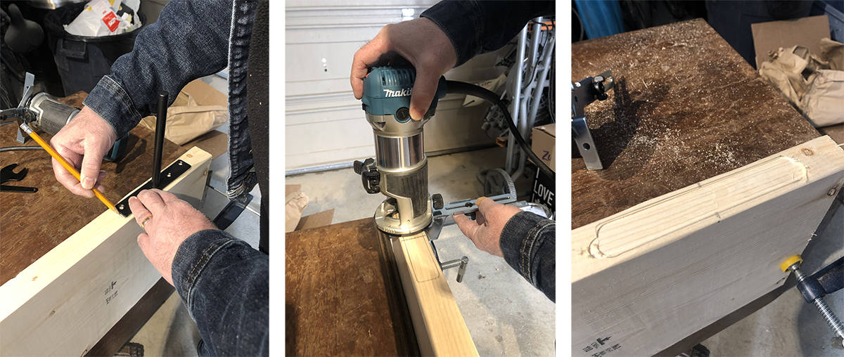 using router to create space in wood for bracket