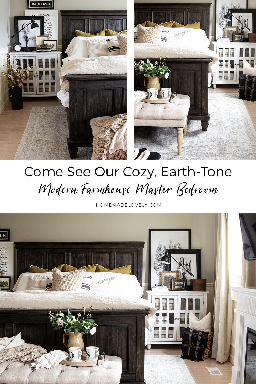 cozy earth-tone modern farmhouse master bedroom