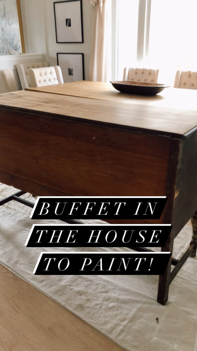 back of sanded buffet with text overlay that says buffet in the house to paint