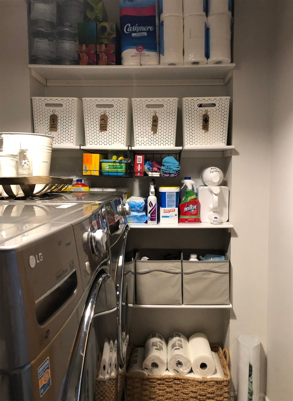 Laundry room shelves after