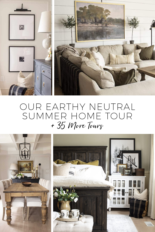 earthy neutral summer home tour text overlay