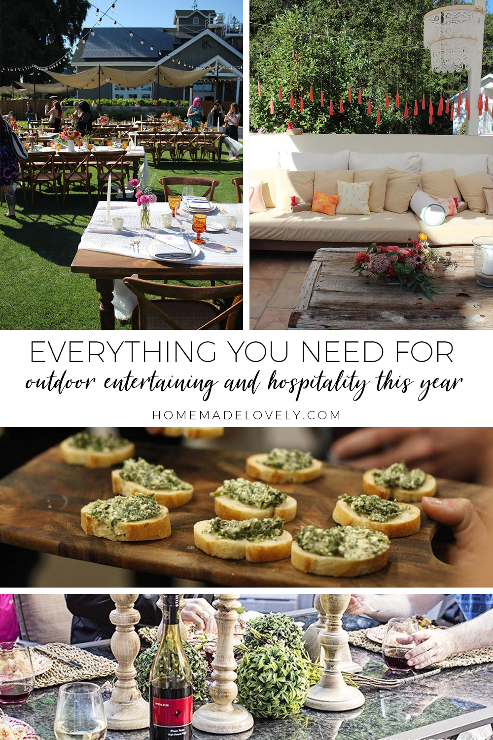 everything you need for outdoor entertaining and hospitality text overlay with various images of outdoor party setups