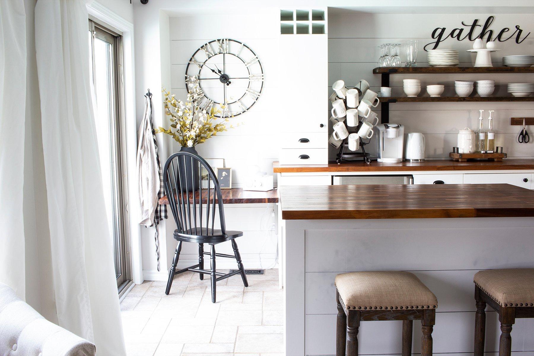 modern farmhouse kitchen with built in desk shiplap backsplash