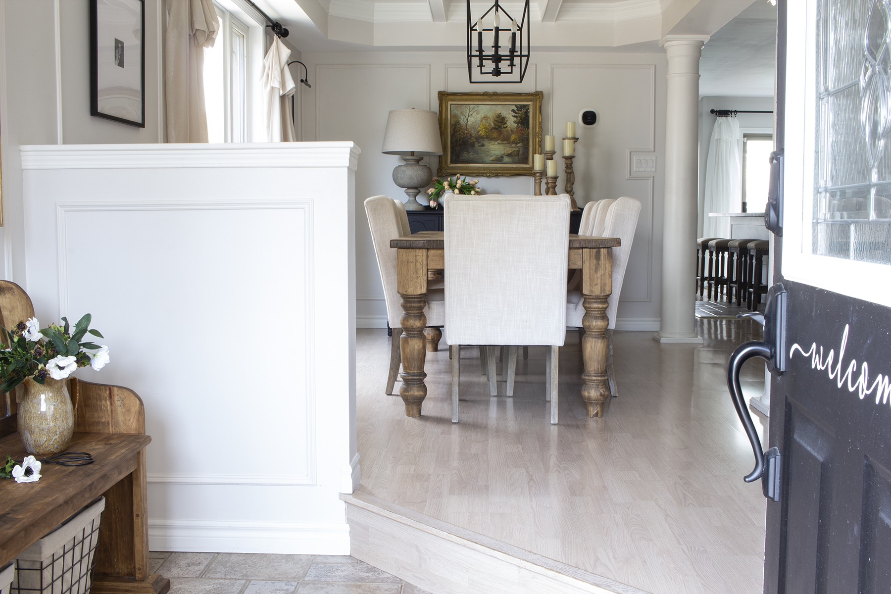 modern farmhouse transitional entry to dining room