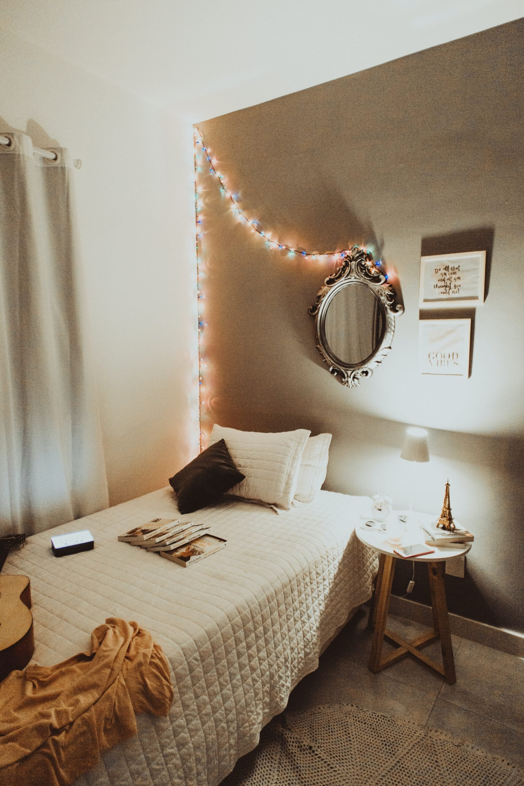 dorm room with twinkle lights