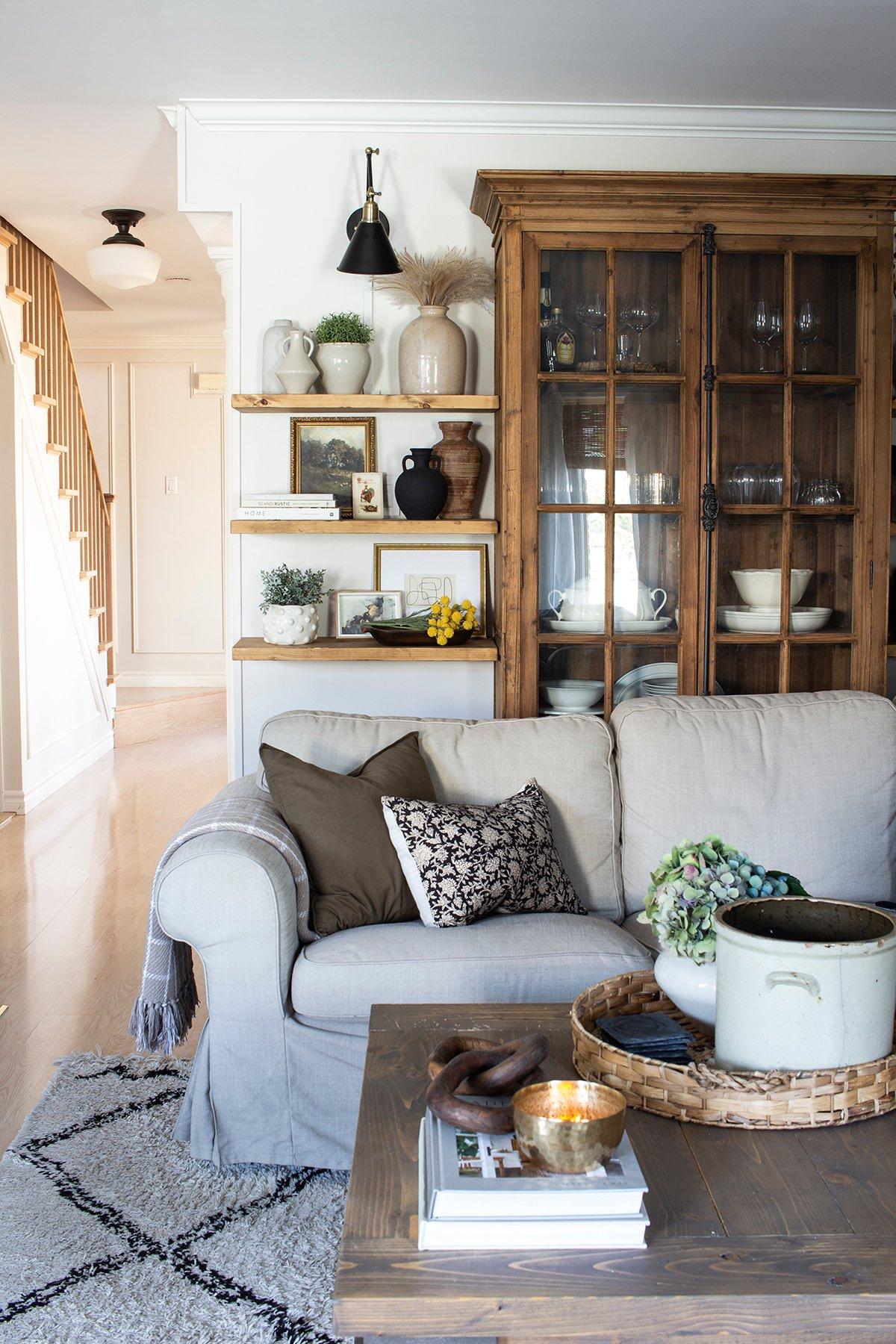 cozy living room open shelves around glass door bookcase