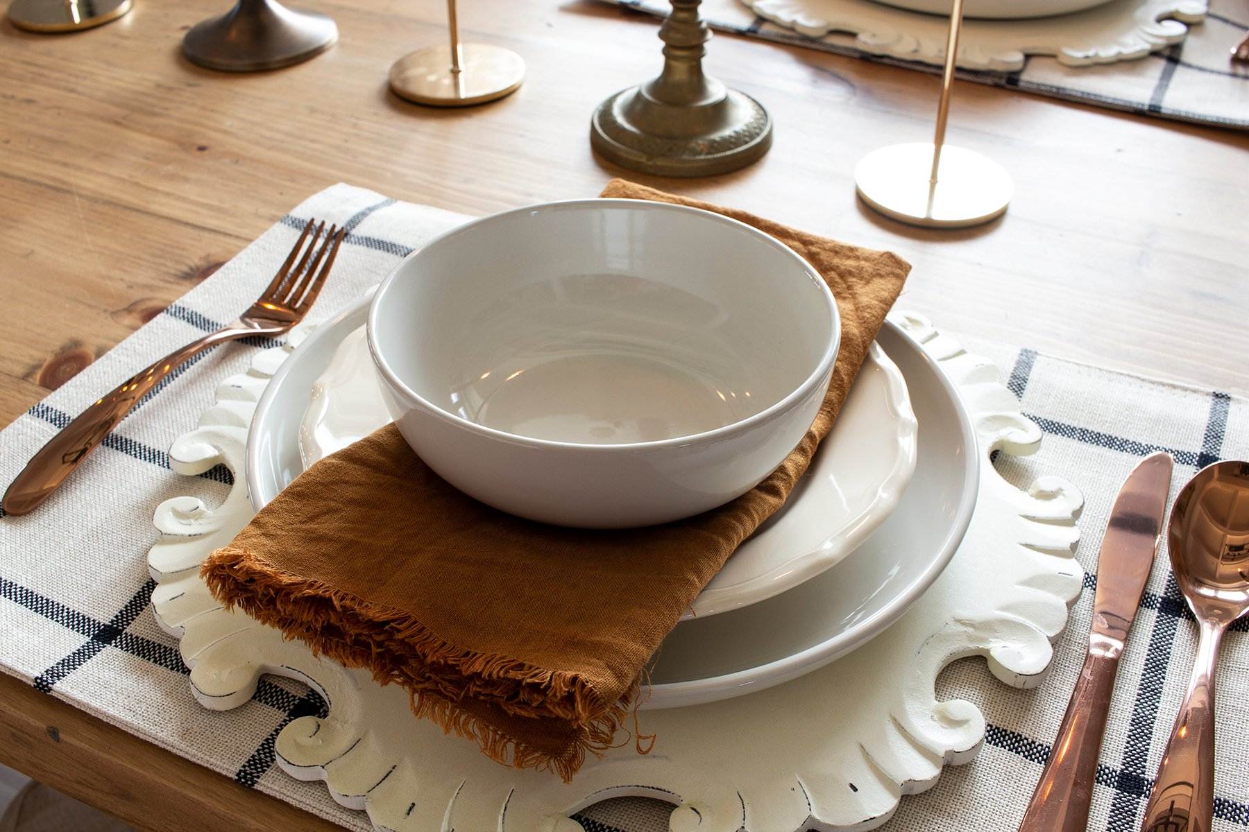 fall copper table setting window pane place mats