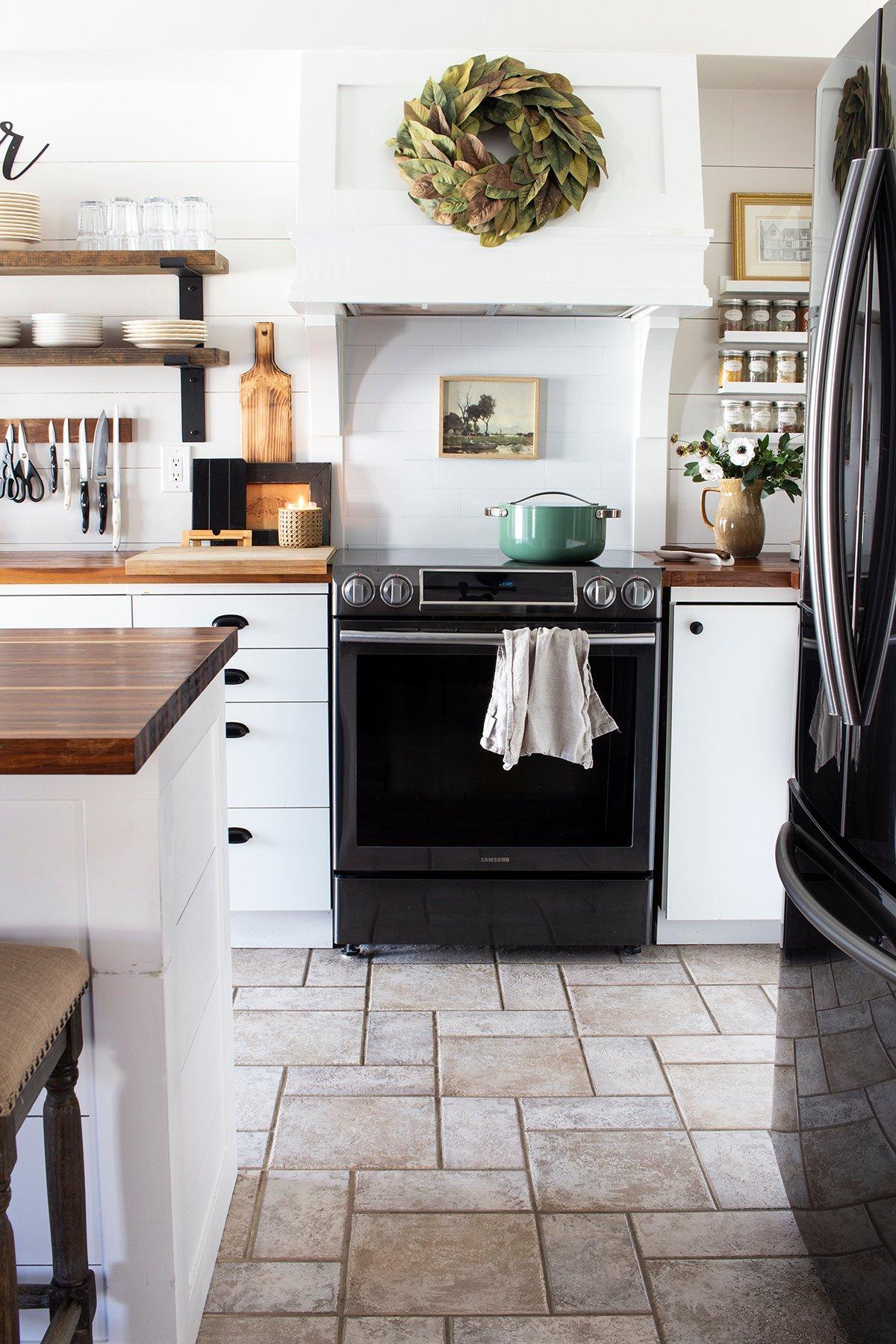 farmhouse kitchen black stainless stove