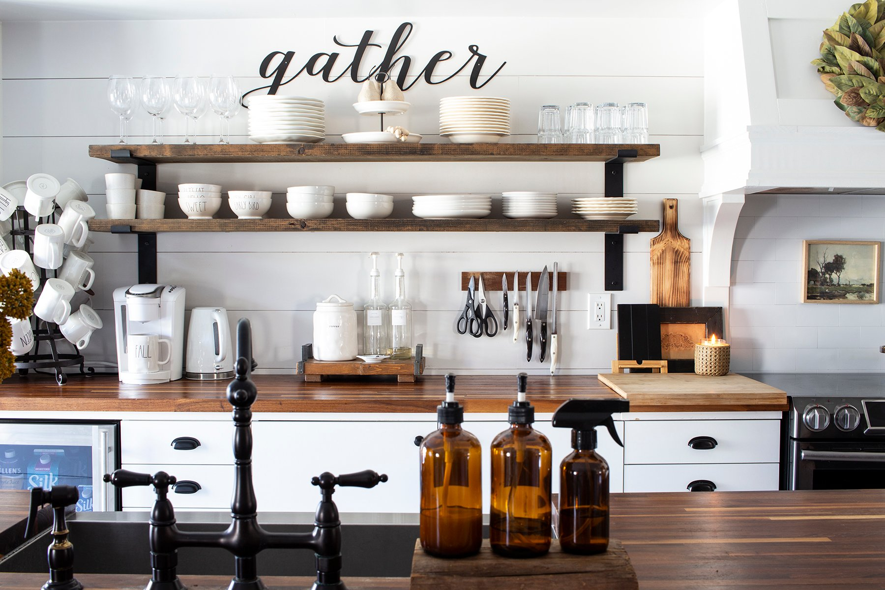 farmhouse kitchen butcher block counters open shelves