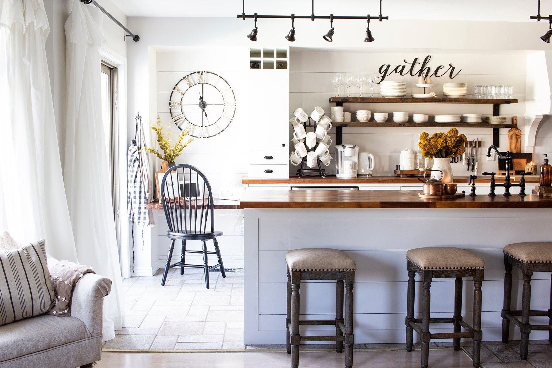 open kitchen shelving farmhouse stayle kitchen