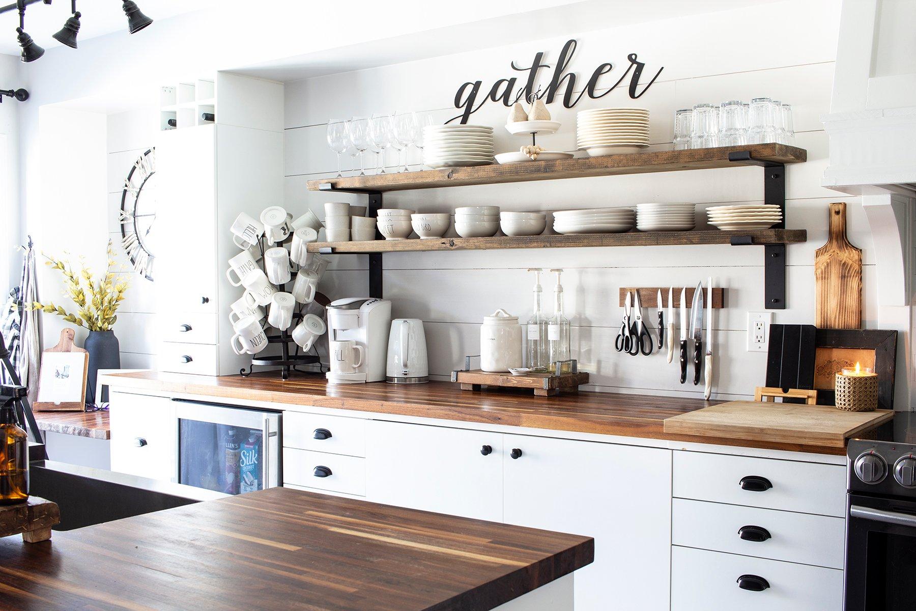 shiplap kitchen open shelves gather metal word cutout