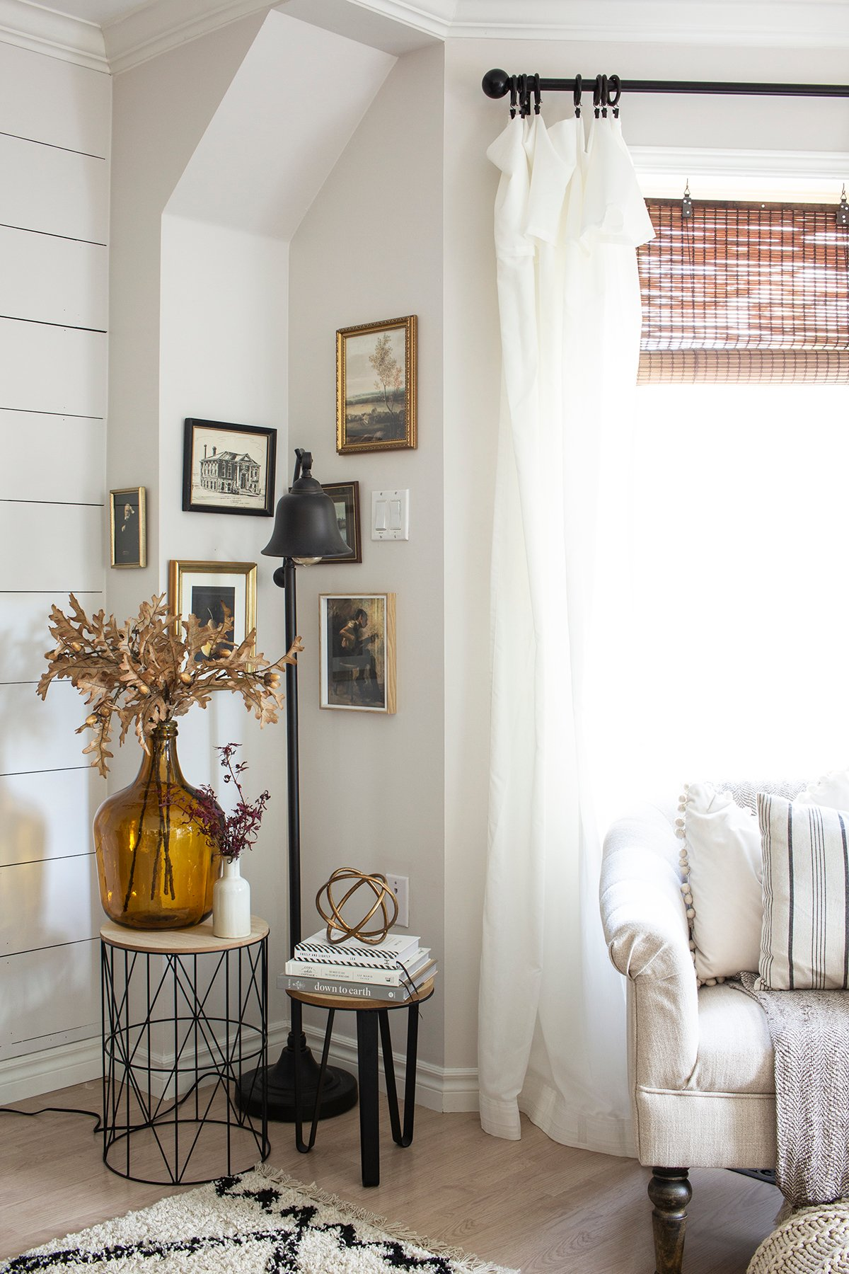 vintage art corner in warm cozy living room