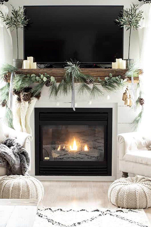 christmas mantel white shipload barn beam knit stockings harmony bells